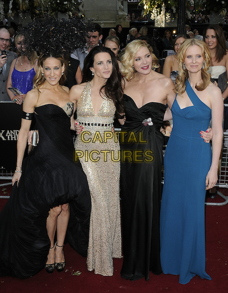 SARAH JESSICA PARKER, KRISTIN DAVIS, KIM CATTRALL & CYNTHIA NIXON .Arrivals to the 'Sex And The City 2' European Premiere at the Odeon, Leicester Square, London .May 27th, 2010.full length length black strapless Alexander McQueen dress armband arm band Philip Treacy hat head piece gold sequined sequin blue teal one shoulder straps gem jewel encrusted embellished metallic sjp cast.CAP/CAN.©Can Nguyen/Capital Pictures.