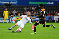 Mike van der Hoorn of Swansea City in action during the FA Cup Fifth Round match between Swansea City and Brentford at the Liberty Stadium in Swansea, Wales, UK. Sunday 17 February 2019