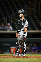 Scottsdale Scorpions catcher Joey Bart (27), of the San Francisco Giants organization, during an Arizona Fall League game against the Mesa Solar Sox on September 18, 2019 at Sloan Park in Mesa, Arizona. Scottsdale defeated Mesa 5-4. (Zachary Lucy/Four Seam Images)