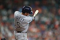 HOUSTON, TX - AUGUST 28:  Matt Duffy #5 of the Tampa Bay Rays hits a home run against the Houston Astros during the game at Minute Maid Park on Sunday, August 28, 2016 in Houston, Texas. Photo by Brad Mangin