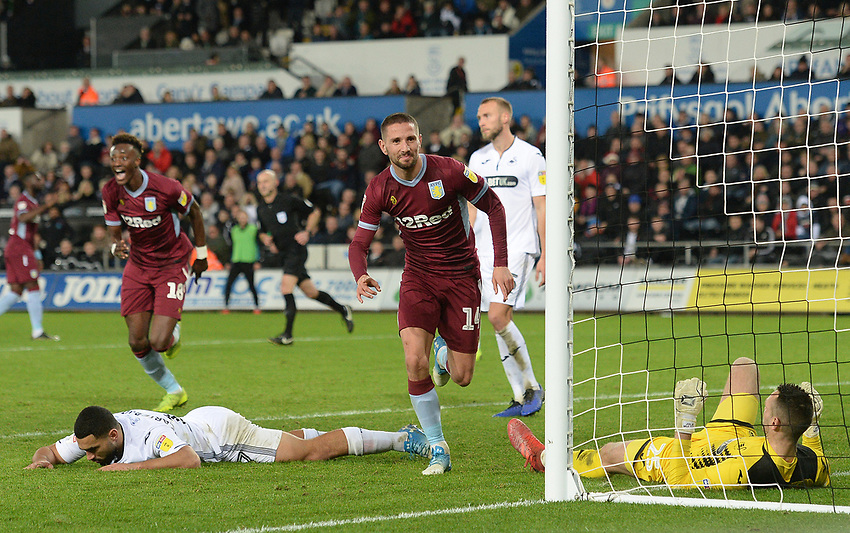 Aston Villa's Conor Hourihane celebrates scoring his side's first goal <br /> <br /> Photographer Ian Cook/CameraSport<br /> <br /> The EFL Sky Bet Championship - Swansea City v Aston Villa - Wednesday 26th December 2018 - Liberty Stadium - Swansea<br /> <br /> World Copyright © 2018 CameraSport. All rights reserved. 43 Linden Ave. Countesthorpe. Leicester. England. LE8 5PG - Tel: +44 (0) 116 277 4147 - admin@camerasport.com - www.camerasport.com