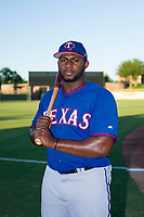 AZL Rangers 2017 Draft Pick Tyreque Reed (5) poses for a photo prior to a game against the AZL Giants on August 22 at Scottsdale Stadium in Scottsdale, Arizona. AZL Rangers defeated the AZL Giants 7-5. (Zachary Lucy/Four Seam Images via AP Images)