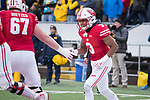 Wisconsin Badgers wide receiver Kendric Pryor (3) celebrates a touchdown with teammate Jon Dietzen (67) during an NCAA College Big Ten Conference football game against the Michigan Wolverines Saturday, November 18, 2017, in Madison, Wis. The Badgers won 24-10. (Photo by David Stluka)