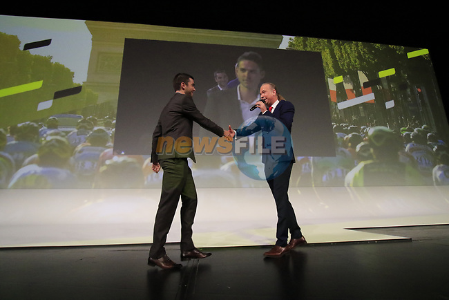 Tony Gallopin (FRA) introduced on stage at the Tour de France 2020 route presentation held in the Palais des Congrès de Paris (Porte Maillot), Paris, France. 15th October 2019.<br /> Picture: Eoin Clarke | Cyclefile<br /> <br /> All photos usage must carry mandatory copyright credit (© Cyclefile | Eoin Clarke)