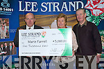 SEPTEMBER WINNER: Maire Farrell, Crohane, Fossa winner of the Lee Strand EUR5,000 for September collecting her cheque from Jerry O'Dwyer production manager for Lee Strand on Friday l-r: Jerry O'Dwyer (Production Manager) and Maire and Sean Farrell.   Copyright Kerry's Eye 2008