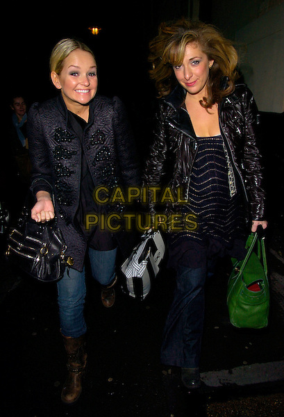 "JENNIFER ELLISON & TRACY-ANN OBERMAN.""Boeing Boeing"" evening performance at the Comedy Theatre, London, England, December 28th  2007..full length Tracey-ann Tracy Ann anne black coat jacket jeans bag booots green.CAP/CAN.©Can Nguyen/Capital Pictures"