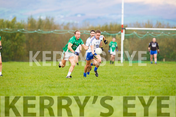 St Marys is tackled by Milltown Castlemaine during their relegation playoff in Glenbeigh on Sunday