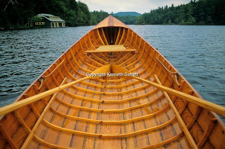 NY State; Adirondack Park; Wooden Adirondack guide boat; St Regis Lake