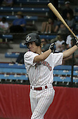 July 14, 2004:  Catcher Brad Davis of the Jamestown Jammers, Single-A NY-Penn League affiliate of the Florida Marlins, during a game at Russell Diethrick Park in Jamestown, NY.  Photo by:  Mike Janes/Four Seam Images