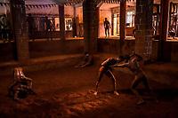 Kushti wrestlers train at Motibag Talim on the 17th of September, 2017 in Kolhapur, India.  <br /> Photo Daniel Berehulak for Lumix