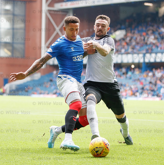 28.07.2019 Rangers v Derby County: James Tavernier and Scott Malone