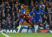 30th September 2017, Stamford Bridge, London, England; EPL Premier League football, Chelsea versus Manchester City; Marco Alonso of Chelsea and Tiemoue Bakayoko of Chelsea foul Raheem Sterling of Manchester City
