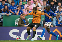 Jonny of Wolves holds off Ricardo Pereira of Leicester City during the Premier League match between Leicester City and Wolverhampton Wanderers at the King Power Stadium, Leicester, England on 10 August 2019. Photo by Andy Rowland.