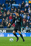 Raphael Varane of Real Madrid in action during the La Liga 2017-18 match between RCD Espanyol and Real Madrid at RCDE Stadium on 27 February 2018 in Barcelona, Spain. Photo by Vicens Gimenez / Power Sport Images