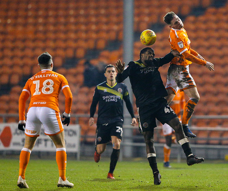 Blackpool's Jordan Thompson battles with Shrewsbury Town's Anthony Grant<br /> <br /> Photographer Alex Dodd/CameraSport<br /> <br /> The EFL Sky Bet League One - Blackpool v Shrewsbury Town - Saturday 19 January 2019 - Bloomfield Road - Blackpool<br /> <br /> World Copyright &copy; 2019 CameraSport. All rights reserved. 43 Linden Ave. Countesthorpe. Leicester. England. LE8 5PG - Tel: +44 (0) 116 277 4147 - admin@camerasport.com - www.camerasport.com