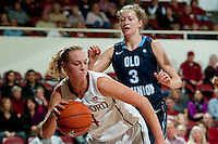 STANFORD, CA - NOVEMBER 17: Taylor Greenfield breaks past a defender as Stanford hosted Old Dominion University at Maples Pavilion. The Cardinal defeated Big Blue 97-48.