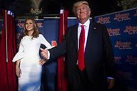 Madrid Wax Museum presents the Melania Trump's wax figure in Madrid on July 20, 2017.<br /> Wax figure's of the First Lady of the United State of America Melania Trump with the wax figure of the President of the USA, Donald Trump