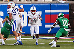 Southern Methodist Mustangs wide receiver CJ Sanders (1) in action during the game between the UNT Mean Green and the SMU Mustangs at the Gerald J. Ford Stadium in Fort Worth, Texas.