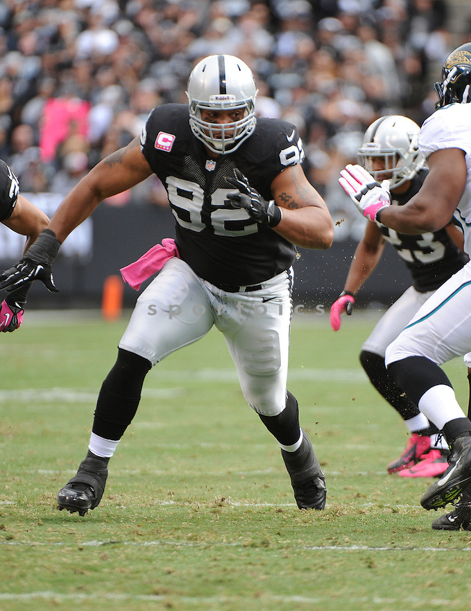 Oakland Raiders Richard Seymour (92) in action during a game against the Jaguars on October 21, 2012 at O.co Coliseum in Oakland, CA. The Raiders beat the Jaguars 26-23.