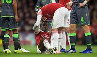 Danny Welbeck of Arsenal sits injured during the UEFA Europa League group match between Arsenal and Sporting Clube de Portugal at the Emirates Stadium, London, England on 8 November 2018. Photo by Andrew Aleks / PRiME Media Images.<br /> .<br /> (Photograph May Only Be Used For Newspaper And/Or Magazine Editorial Purposes. www.football-dataco.com)