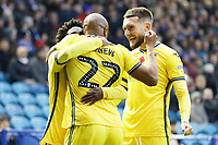Andre Ayew of Swansea City (C) celebrates his goal with team mates Nathan Dyer (L) and Matt Grimes during the Sky Bet Championship match between Sheffield Wednesday and Swansea City at Hillsborough Stadium, Sheffield, England, UK. Saturday 09 November 2019