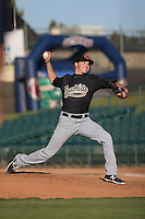 John Omahen (29) of the Visalia Rawhide pitches during a game against the Lancaster JetHawks at The Hanger on June 16, 2015 in Lancaster, California. Lancaster defeated Visalia, 11-3. (Larry Goren/Four Seam Images)