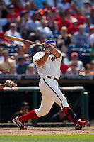 Philadelphia Phillies pinch hitter Jim Thome #25 swings during the Major League Baseball game against the Pittsburgh Pirates on June 28, 2012 at Citizens Bank Park in Philadelphia, Pennsylvania. This would be Thome's final appearance for the Phillies before he was traded a few days later. The Pirates defeated the Phillies 5-4. (Andrew Woolley/Four Seam Images).