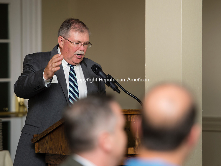 WATERTOWN, CT- 22 October 2015-102215EC07-  Paul Jessell, the President of the Watertown Foundation, speaks in front of guests during the organization's annual meeting at the Watertown Golf Club. Astronaut Rick Mastracchio was in the audience to give a speech Thursday night. Erin Covey Republican-American