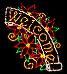Mount Holyoke, MA town park Christmas light display. Welcome sign.