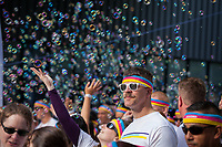 Bubbles floating over crowd before 5K Run, Seattle Center, Washington State, WA, America, USA.