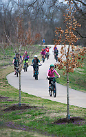 NWA Democrat-Gazette/CHARLIE KAIJO Bikers ride for an all-women's bike ride, Friday, March 23, 2018 that started at the Record and ended at Slaughter Pen Trail in Bentonville. <br /><br />The International Mountain Biking Association held an event called Uprising to try and increase female participation in mountain biking. The group did a trail ride at Slaughter Pen leaving from the Record
