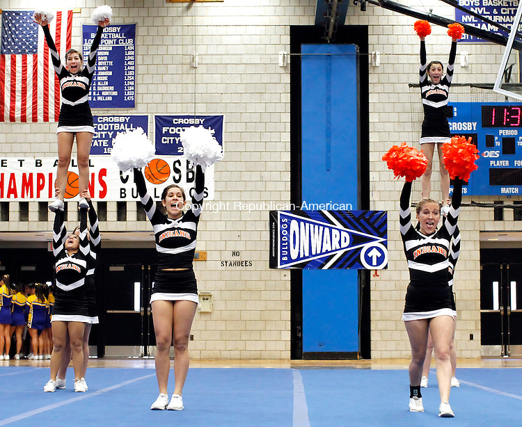 Waterbury, CT- 26, February 2011-022611CM03 Watertown High School girls cheerleading team competes during the NVL Cheerleading Championships Saturday morning in Waterbury.  The competition was held at Crosby High School.  Christopher Massa Republican-American