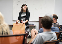 Sara Semal, Senior Director of Student Wellness Services and Marianne Frapwell, Project S.A.F.E. Program Manager and Survivor Advocate, meet with coaches in the Athletics Department on Oct. 9, 2015. They met to discuss a collaboration between Athletics and Project S.A.F.E. (Sexual Assault Free-Environment), a prevention, education, and advocacy program dedicated to addressing issues of sexual assault on campus.<br /> (Photo by Marc Campos, Occidental College Photographer)