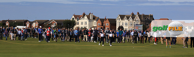 Alex Fitzpatrick (GB&I) and Conor Purcell (GB&I) on the 16th during Day 2 Foursomes of the Walker Cup, Royal Liverpool Golf CLub, Hoylake, Cheshire, England. 08/09/2019.<br /> Picture Thos Caffrey / Golffile.ie<br /> <br /> All photo usage must carry mandatory copyright credit (© Golffile | Thos Caffrey)