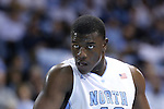08 January 2014: North Carolina's Joel James. The University of North Carolina Tar Heels played the University of Miami Hurricanes in an NCAA Division I Men's basketball game at the Dean E. Smith Center in Chapel Hill, North Carolina. Miami won the game 63-57.