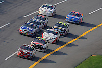 Apr 26, 2008; Talladega, AL, USA; NASCAR Nationwide Series driver Tony Stewart leads the field during the Aarons 312 at the Talladega Superspeedway. Mandatory Credit: Mark J. Rebilas-