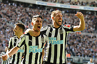 Ayoze Perez of Newcastle United celebrates his second goal of the game during Newcastle United vs Chelsea, Premier League Football at St. James' Park on 13th May 2018