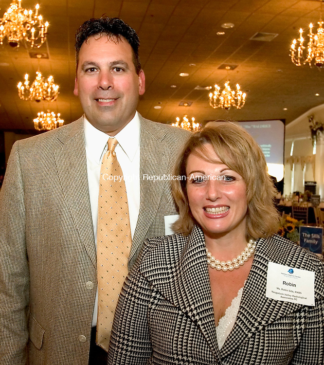 SOUTHINGTON, CT-28 SEPTEMBER 2006-092806JS04-Robin  M. Sills of the Naugatuck Valley Radiological Associates PC and her husband Richard Silla at the twelfth annual Malcolm Baldrige Chamber Awards ceremony at the Aqua Turf Club in Southington. Robin Sills was recipient of the Volunteer Award during the event.     -Jim Shannon Republican-American