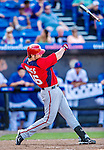 23 February 2013: Washington Nationals first baseman Micah Owings loses the grip on his bat during a Spring Training plate appearance against the New York Mets at Tradition Field in Port St. Lucie, Florida. The Mets defeated the Nationals 5-3 in their Grapefruit League Opening Day game. Mandatory Credit: Ed Wolfstein Photo *** RAW (NEF) Image File Available ***