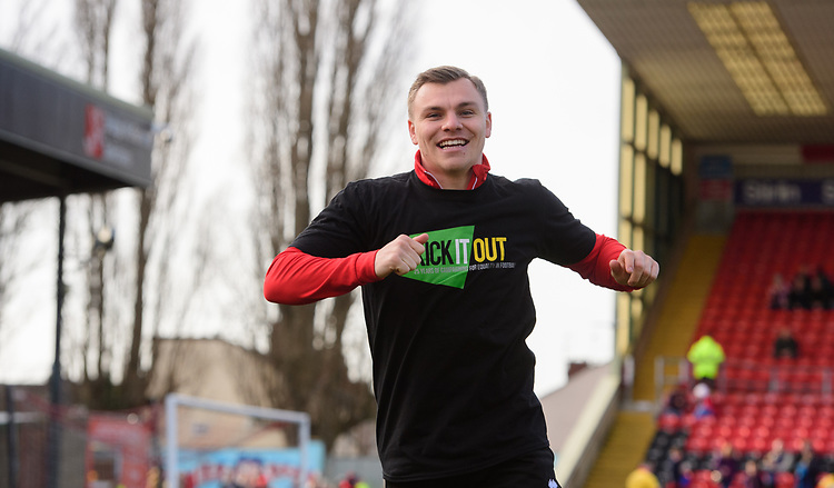 Lincoln City's Harry Anderson during the pre-match warm-up<br /> <br /> Photographer Chris Vaughan/CameraSport<br /> <br /> The EFL Sky Bet League Two - Lincoln City v Northampton Town - Saturday 9th February 2019 - Sincil Bank - Lincoln<br /> <br /> World Copyright © 2019 CameraSport. All rights reserved. 43 Linden Ave. Countesthorpe. Leicester. England. LE8 5PG - Tel: +44 (0) 116 277 4147 - admin@camerasport.com - www.camerasport.com