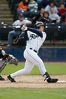 June 8, 2008: Tacoma Rainiers' Jeff Clement connects for a solo home run (13th) during a Pacific Coast League game against the Fresno Grizzlies at Cheney Stadium in Tacoma, Washington.