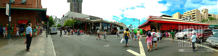People outside the Oahu market in Chinatown, downtown Honolulu.