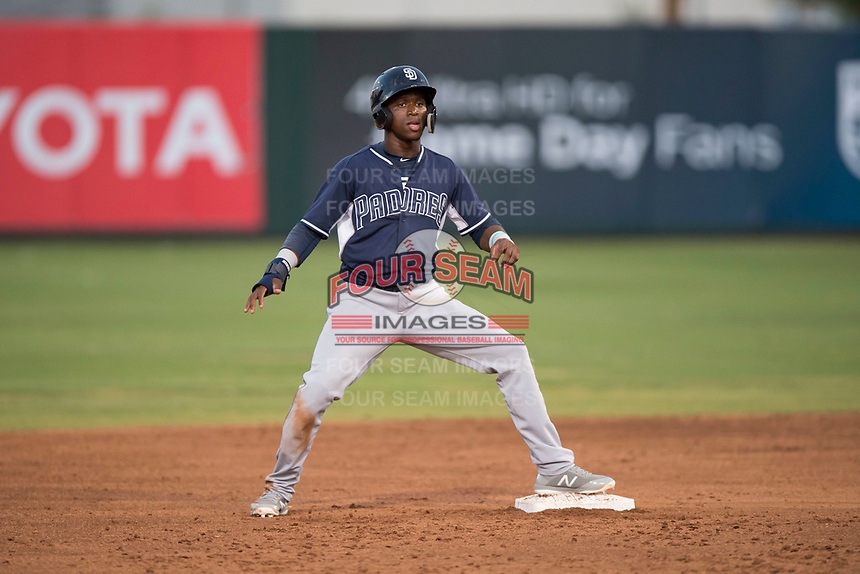 AZL Padres 2 shortstop Jordy Barley (55) stands on second base during an Arizona League game against the AZL Angels at Tempe Diablo Stadium on July 18, 2018 in Tempe, Arizona. The AZL Padres 2 defeated the AZL Angels 8-1. (Zachary Lucy/Four Seam Images)