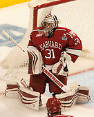 Merrick Madsen (Harvard - 31) - The University of Minnesota Duluth Bulldogs defeated the Harvard University Crimson 2-1 in their Frozen Four semi-final on April 6, 2017, at the United Center in Chicago, Illinois.