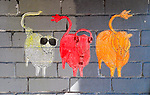 See, Hear, Say - three wise sheep graffiti, Newtown, Sydney