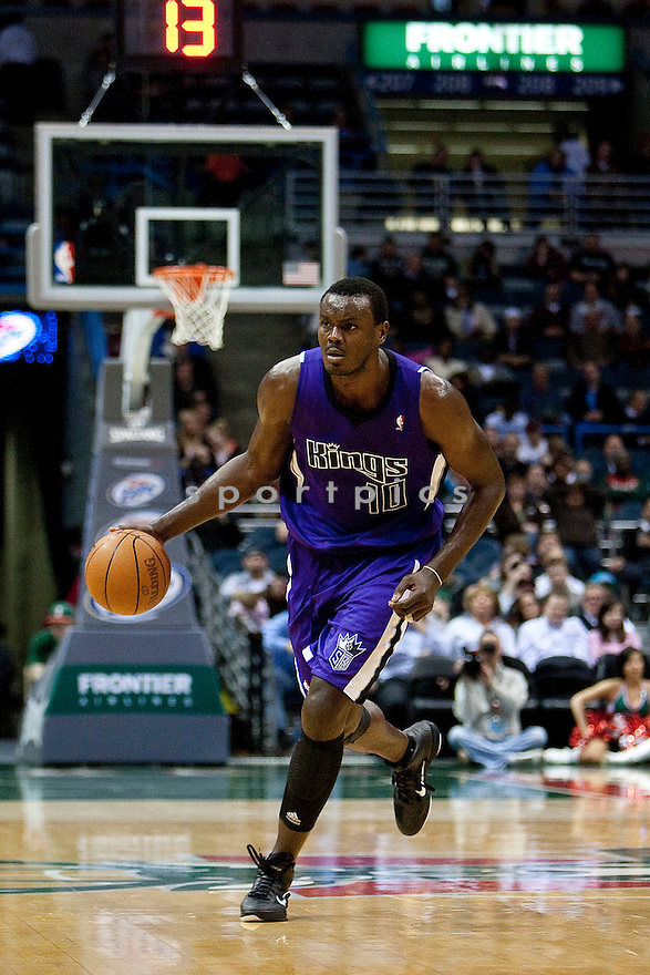 SAMUEL DALEMBERT, of the  Sacramento Kings in actions during the Kings game against the Milwaukee Bucks at Bradley Center on March 23, 2011.  The Sacramento Kings  won the game beating the Milwaukee Buck 97-90.