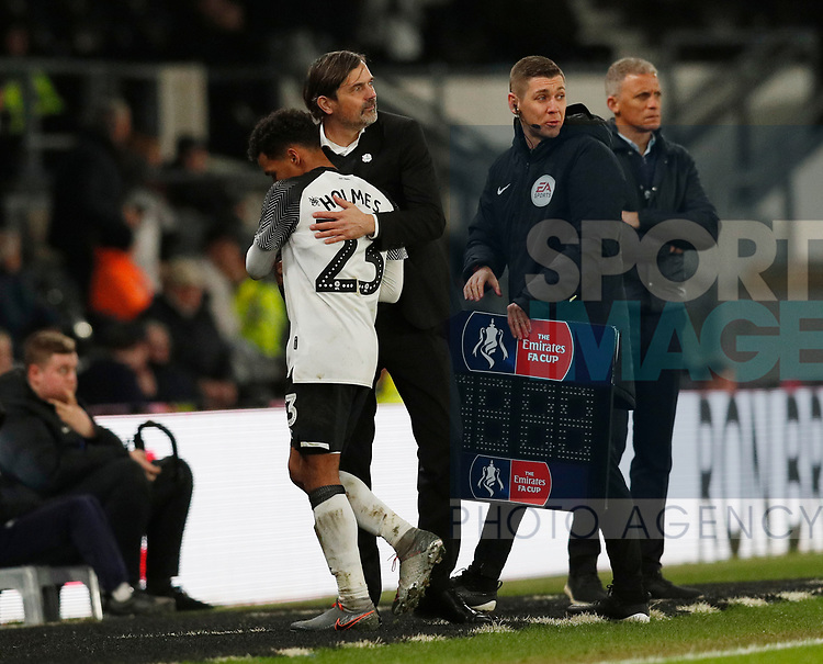 Phillip Cocu manager of Derby County takes off Duane Holmes of Derby County during the FA Cup match at the Pride Park Stadium, Derby. Picture date: 4th February 2020. Picture credit should read: Darren Staples/Sportimage