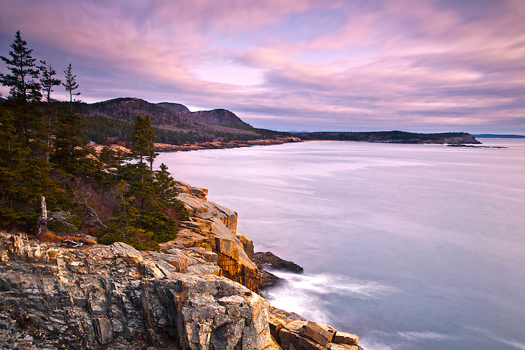 The Atlantic coastline at sunrise from Otter Point in Acadia National Park, Maine