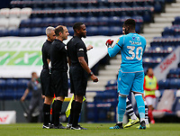 11th July 2020; Deepdale Stadium, Preston, Lancashire, England; English Championship Football, Preston North End versus Nottingham Forest; Nottingham Forest keeper Brice Samba  thanks referee Jeremy Simpson and his assistants at the end of the game Strictly Editorial Use Only. No use with unauthorized audio, video, data, fixture lists, club/league logos or 'live' services. Online in-match use limited to 120 images, no video emulation. No use in betting, games or single club/league/player publications