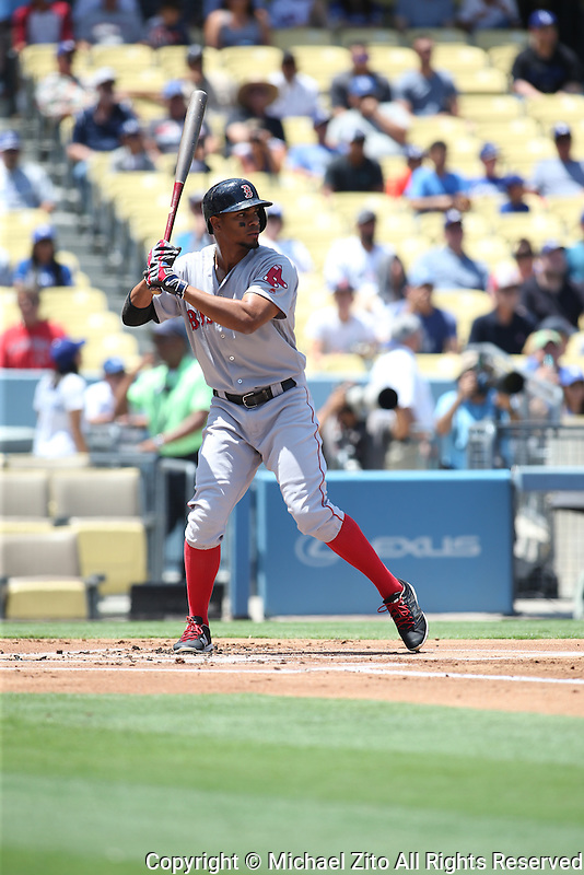 August 6, 2016 Los Angeles, CA: Boston Red Sox shortstop Xander Bogaerts #2 during an MLB game played at Dodger Stadium against the Los Angeles Dodgers.